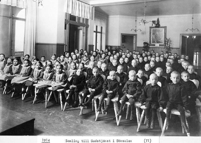 Gudstjänst i Bönsalen 1914.