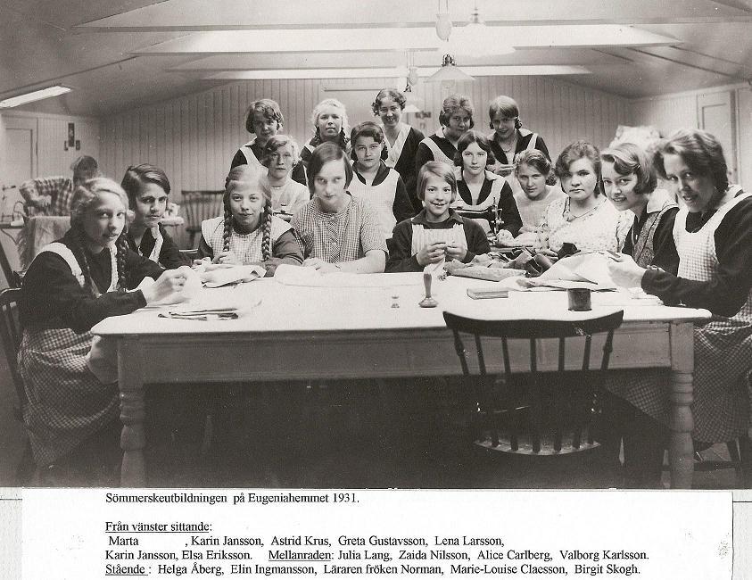Sömmerskeutbildning 1931.