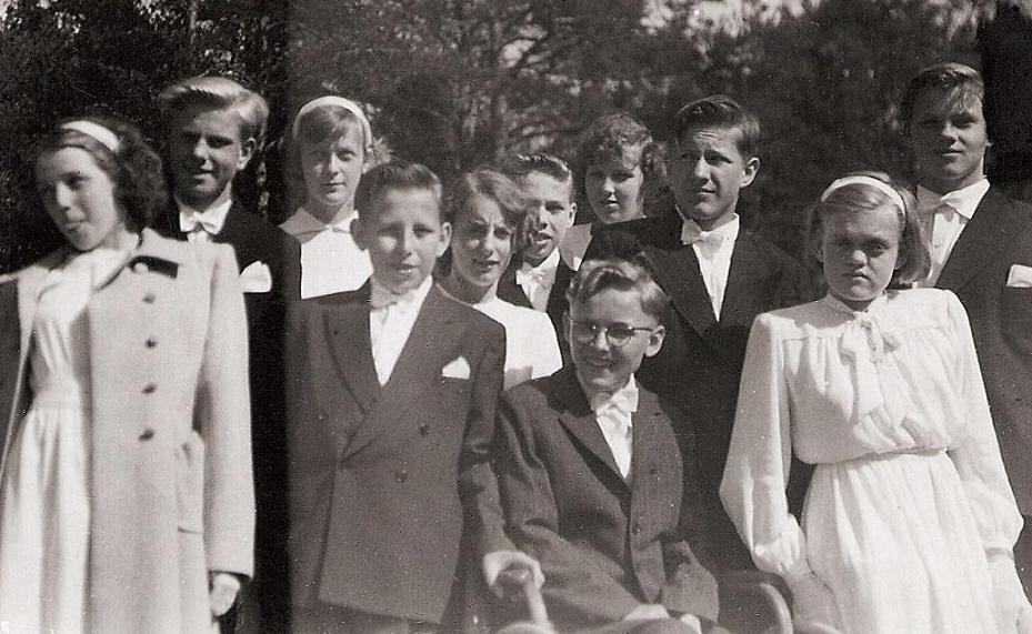 Konfirmander Lidingö kyrka 1950.