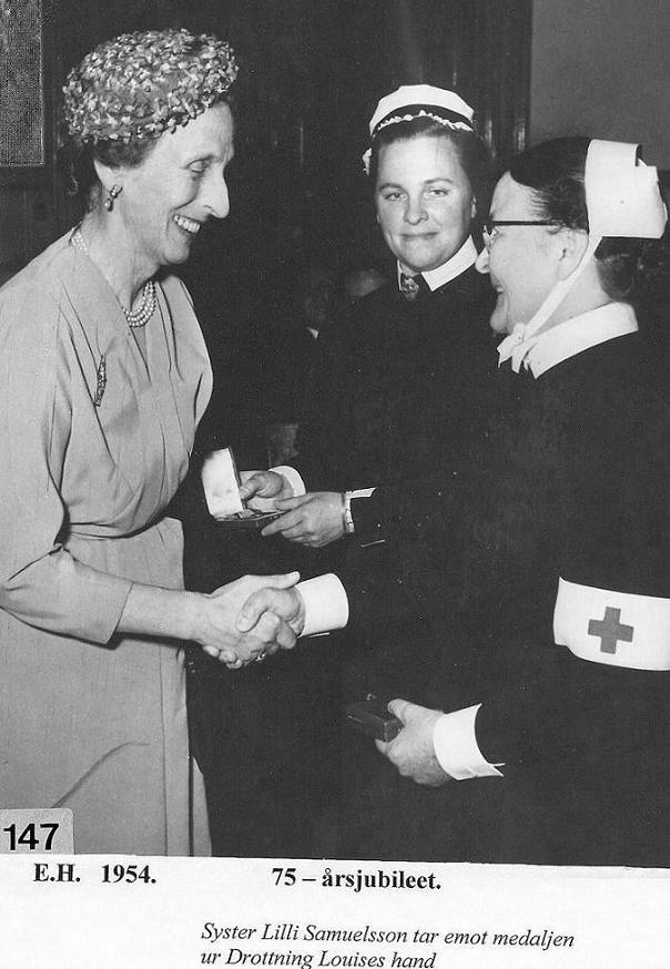 Drottning Louise på besök 1954.