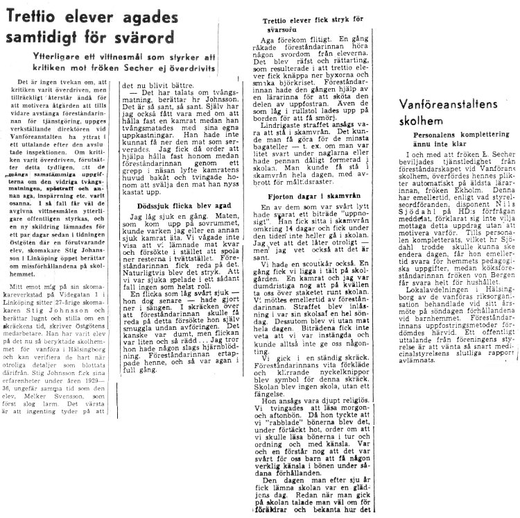 Skandalen 1950 ännu fler elevberättelser
