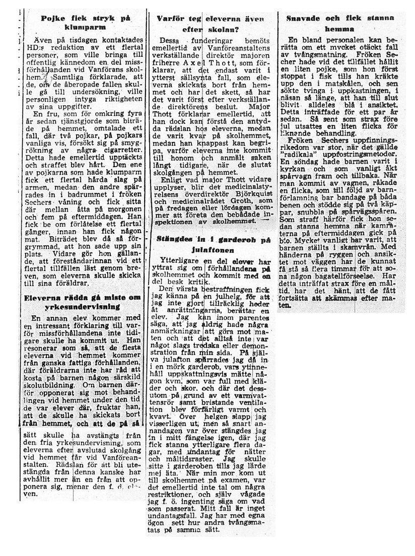 Skandalen 1950 fler elevberättelser den 25 januari