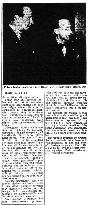 Skandalen 1950 forts artikel i HD om inspektionen