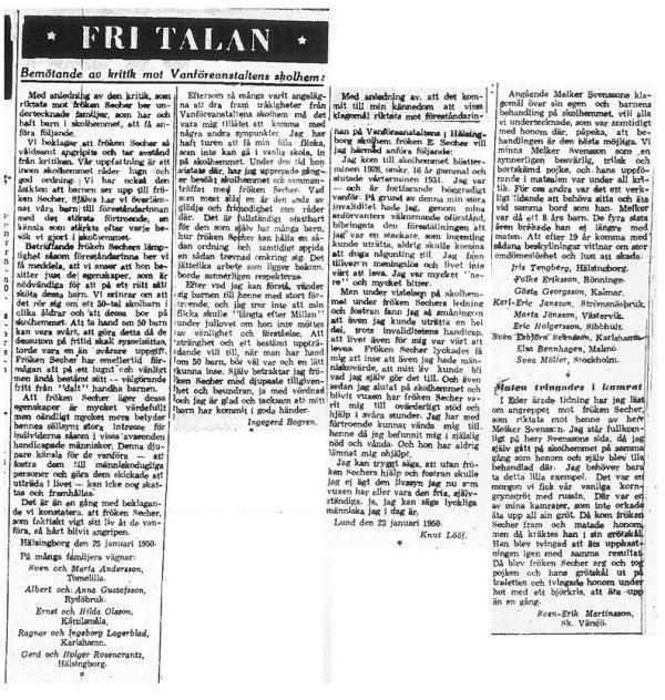Skandalen 1950 insändare i HD 25 januari