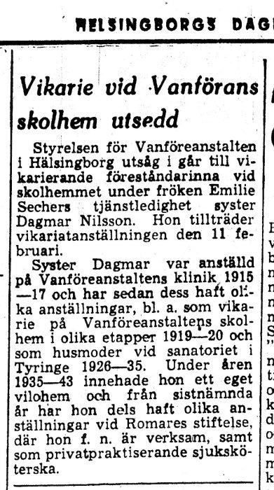 Skandalen 1950 Dagmar Nilsson blev vikarie