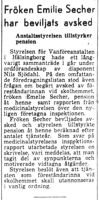 Skandalen 1950 fröken Secher får avsked