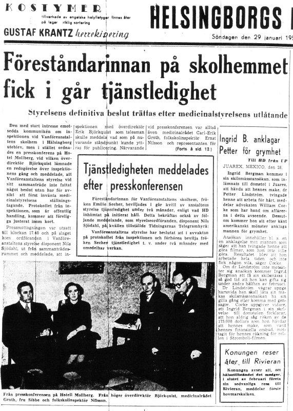 Skandalen 1950 Secher får tjänstledigt