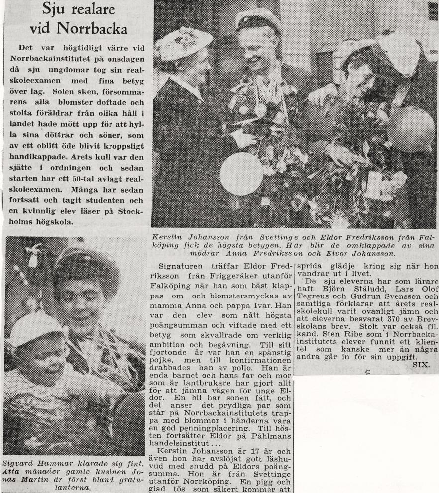 Tidn.artikel om realexamen 1954.