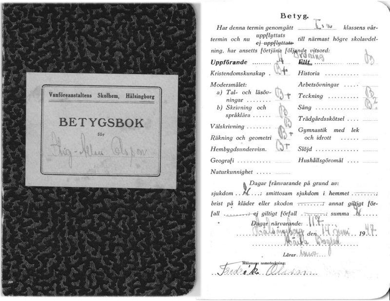 Stig Allan Olssons betyg i första klass 1947